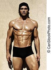 sexy, sans chemise, mâle, modèle