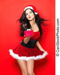 Sexy Santa - Beautiful and sexy woman wearing santa clause...