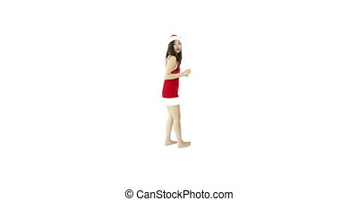 sexy santa claus isolated on white looking for help