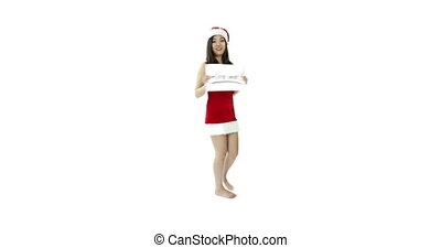 sexy santa claus isolated on white looking for work