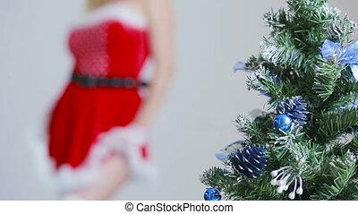 Sexy Santa Girl caresses herself. sex games. erotic dance