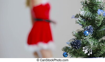 Sexy Santa Girl caresses herself. sex games. erotic dance