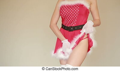 Sexy Santa Girl caresses herself. sex games