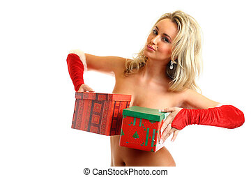 sexy santa girl hide behind gift box
