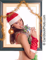 Sexy Santa Girl - Young sexy Santa Girl on white background ...