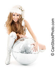 sexy, santa, helfer, mit, groß, discokugel