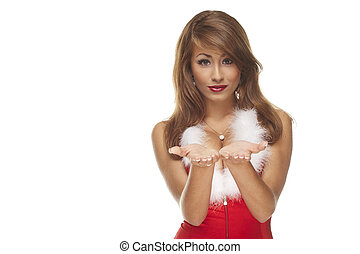 sexy santa helper on white