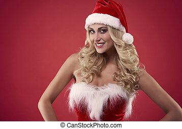 Sexy santa looking at camera