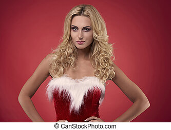 Sexy santa on the red background