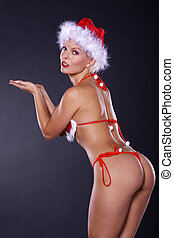 Sexy santa woman in lingerie