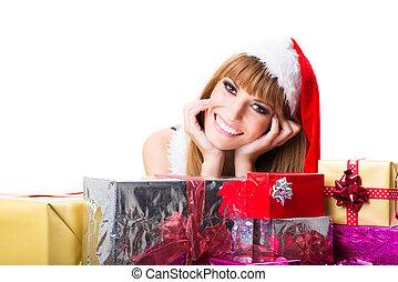 Sexy Santa woman with gift box
