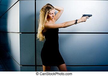 Sexy secret agent - Sexy blonde woman as a secret agent spy...