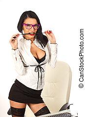 Sexy secretary business woman