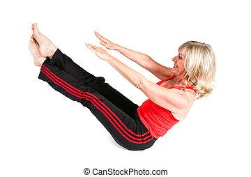 sexy, senior, pilates