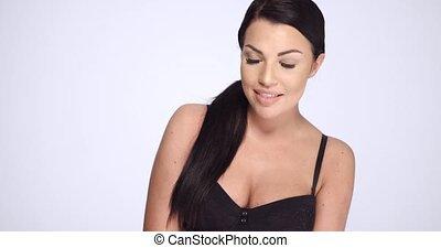 Sexy Sensual Brunette Posing in Black Lingerie