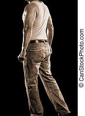 sexy, sepia, mannelijke , jeans