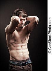sexy, shirtless, addome, muscolare, uomo