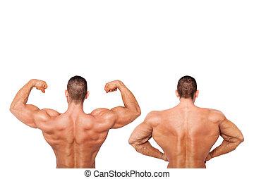 sexy, shirtless, bodybuilder.