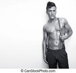 sexy, shirtless, człowiek