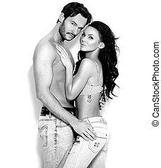 sexy, shirtless, ehepaar, aufwirft, weiß, hintergrund