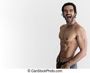 Sexy shirtless man - Sexy shirtless guy laughing against...