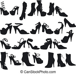 Sexy Shoes Silouettes - Illustration of Sexy Shoes...