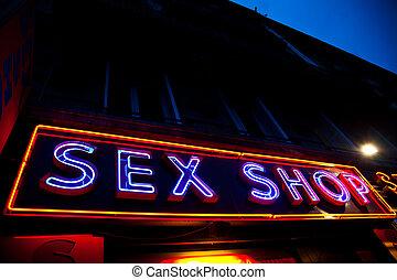 Sexy shop entrance - Paris - Detail of sexy shop sign, no...