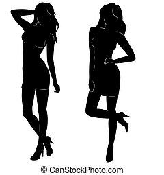 sexy, silhouette, donna