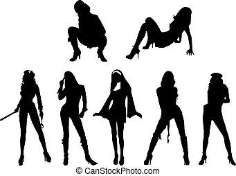 sexy, silhouette, mädels