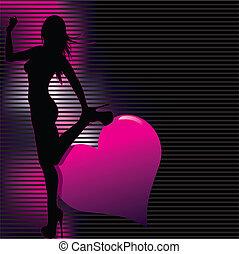 sexy, silhouette, mit, abstrakt, zurück