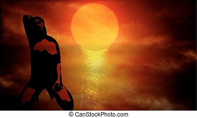 Sexy silhouette of a woman at sunse