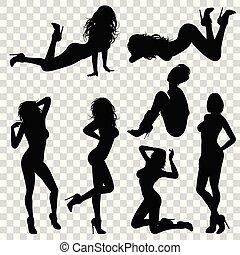 sexy, silhouette, ragazza
