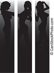 sexy, silhouette, set, bandiera