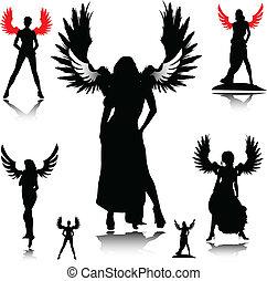 sexy, silhouette, vettore, angelo