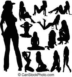 sexy, silhouette, vettore, bambini