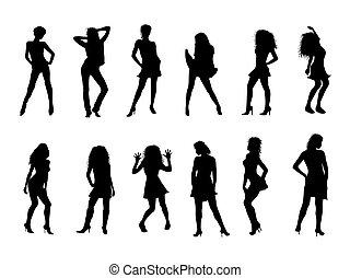 sexy, silhouettes, noir, blanc