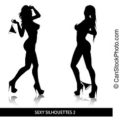 Sexy silhouettes - Sexy female silhouettes isolated on white...
