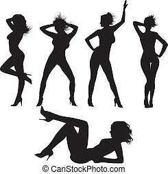 sexy, silhouettes.vector