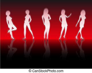 sexy, siluetas, niñas, fondo rojo