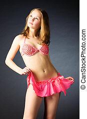 sexy, slank, vrouw, in, roze, lingerie