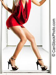 Sexy slim woman legs
