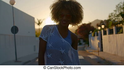 Sexy Smiling Girl At Sunset Light