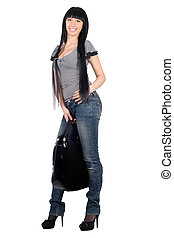 Sexy smiling girl with a handbag. Isolated
