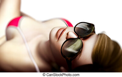 sexy, sonnenbrille, frau