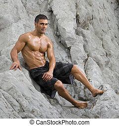 sexy, spiaggia, uomo