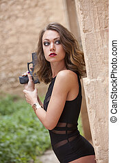 Sexy Spy with gun
