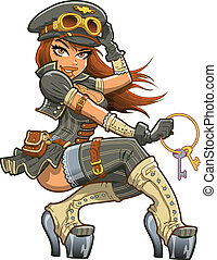 Sexy Steampunk Airship Captain Aviator with Ring of Keys