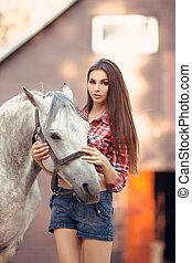 sexy, stijl, vrouw, ongedwongen, horse.