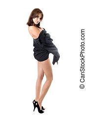Sexy stripping brunette