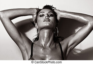 Sexy stunning brunette beauty in a very sexy pose